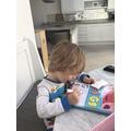 Bertie practicing his letters
