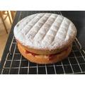 Mrs Keeton has baked a Victoria Sandwich