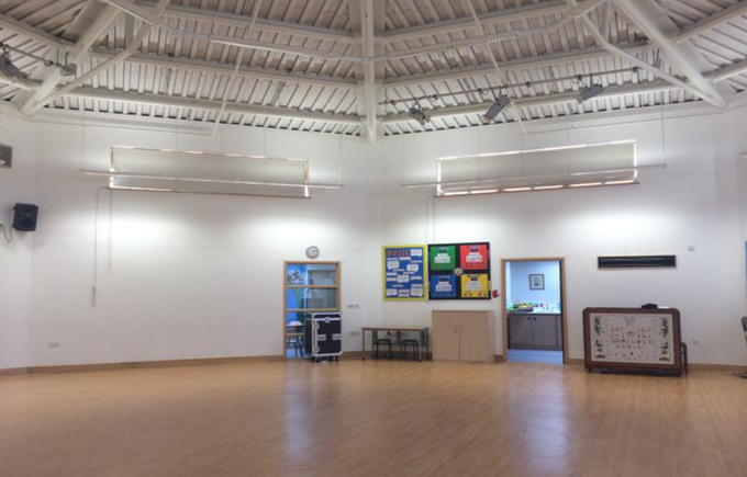 The school hall where the children will eat their lunch and have their PE lessons.