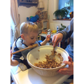 Arthur made (and ate) Easter Rice Crispy Cakes