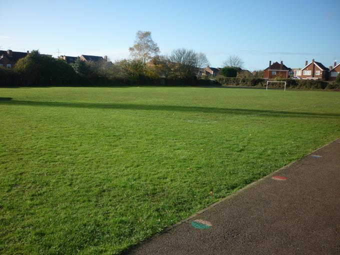 The school field is used for PE lessons and at playtime in the summer months