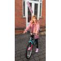 Birthday girl, Leah, on her amazing new bike!