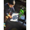 Aarav practising his pencil control.