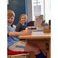 Sibling desk sharing.