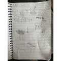 Haya drew and listed farm animals and their young.
