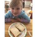 Olivia made her favourite egg sandwich!