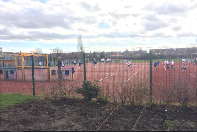 The MUGA which the children will use for their PE lessons during the summer term.