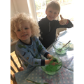 Evan and his brother Ellis made some gooey slime!