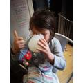 Niamh made her banana milkshake