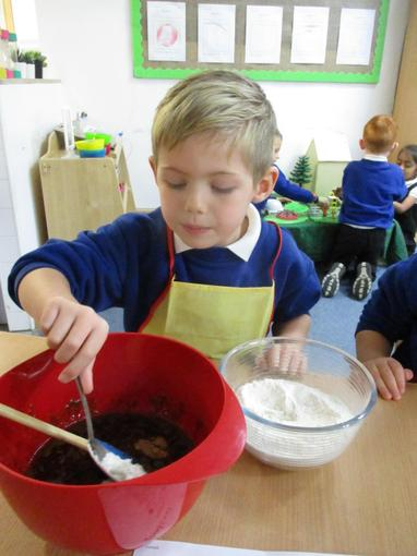 A group of children helped to bake parkin as a treat.