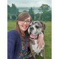 Miss Joynt on a walk with her dog Carter.