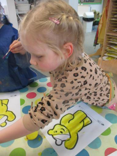 We painted some Pudsey pictures and made Pudsey masks.