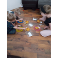George and Harley decorating biscuits