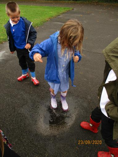 We walked all around school to find the best puddle to splash in.