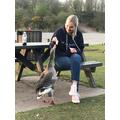 Miss Spencer was feeding the ducks.