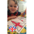 Painting flags for our VE Day tea party
