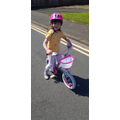 Holly is learning to ride without stabilisers!
