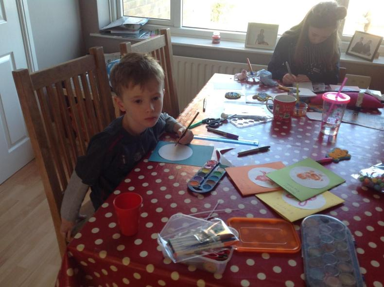 Making Easter cards for friends and family