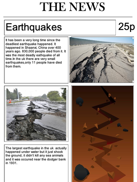 Earthquakes newspaper