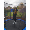 Keeping active on the trampoline.