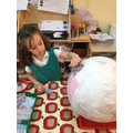 We worked together to make a giant hot air balloon