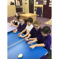 We baked our own bread rolls then enjoyed sampling them.