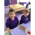 We made our own chocolate bars with a variety of toppings.