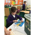 Cutting and peeling our fruit to go into our healthy milkshake.