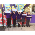 We took inspiration from the school artwork to write our names.