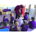 Look who we had a visit from! We tried some new chocolate and asked lots of questions.