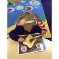 Then we used chocolate spread to make a bear head.