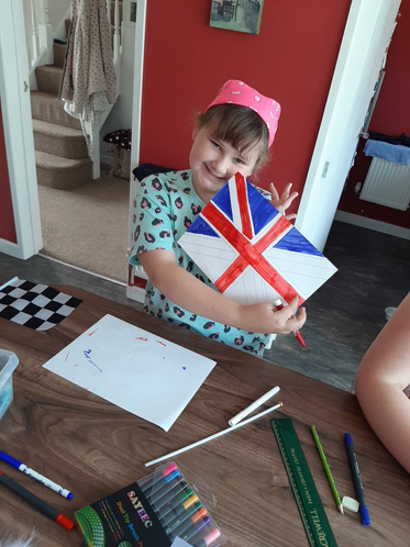Layla produced this beautiful Union Jack flag.