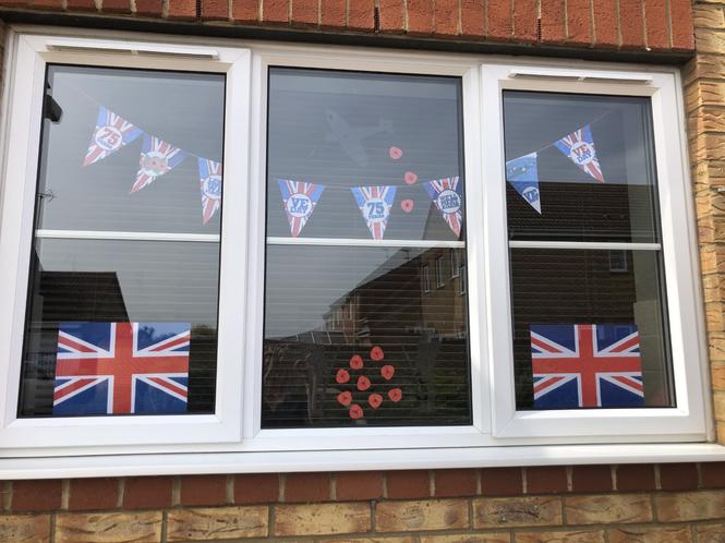Tom's VE day celebration decorations