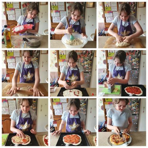 Isabelle's been busy making pizza
