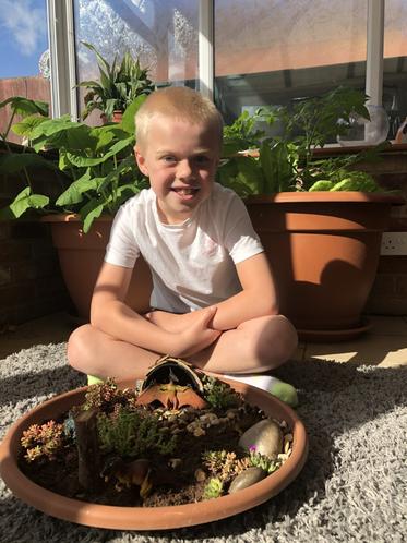 Harry has made a wonderful dinosaur garden.