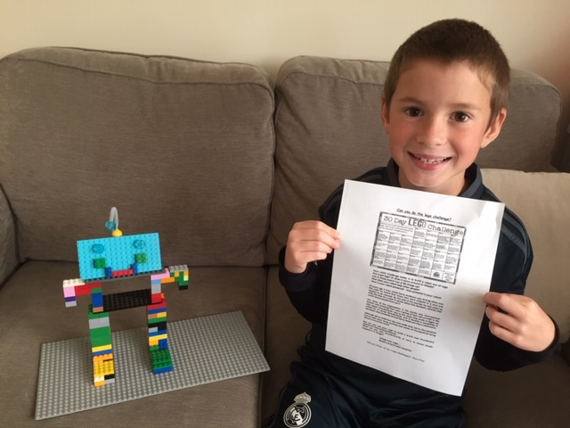 Archie completing the Lego challange