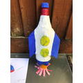 Remey covered her junk materials with paper-mache