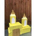 Remey has made a model of a temple.