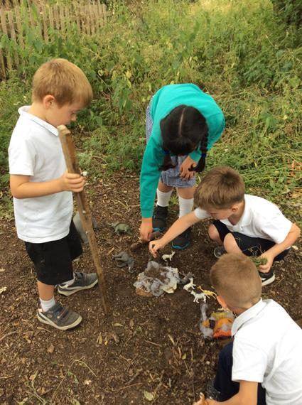 Making animal dens in the woods.