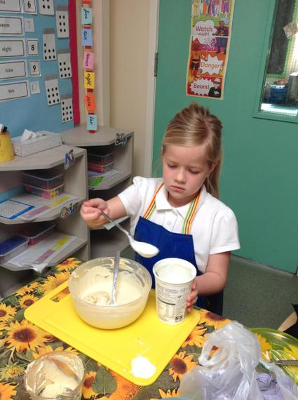 Measuring the ingredients carefully.