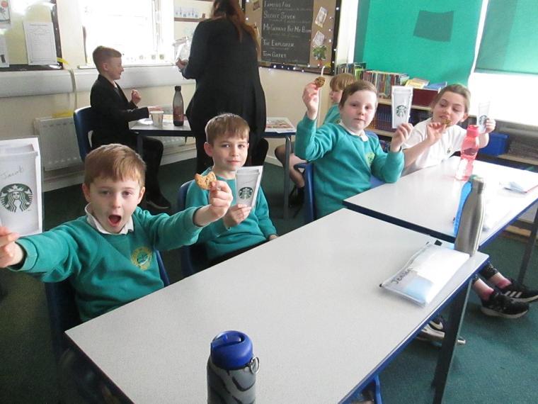 Enjoying our cookies!