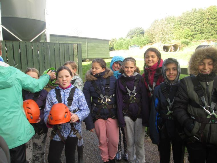 Preparing for the zip wire and high swing