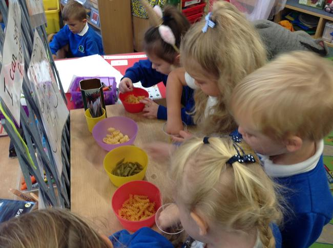 improving our fine motor skill with pasta sorting