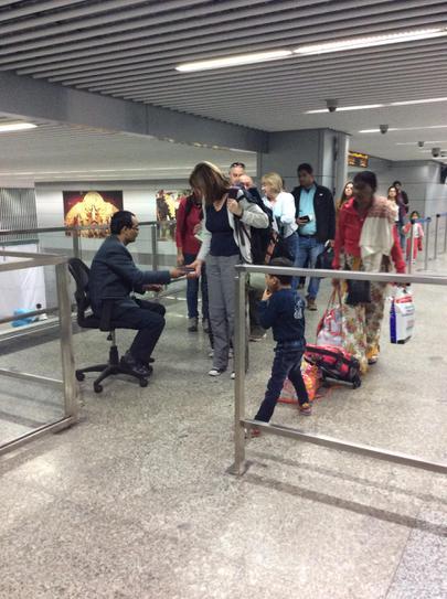 The team arrive at Kolkata airport