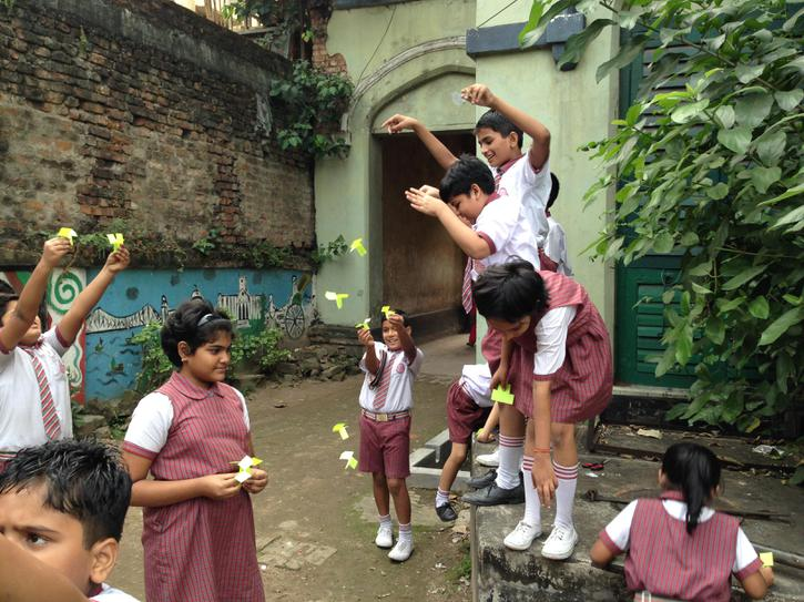 Children test their 'gyrocopters'