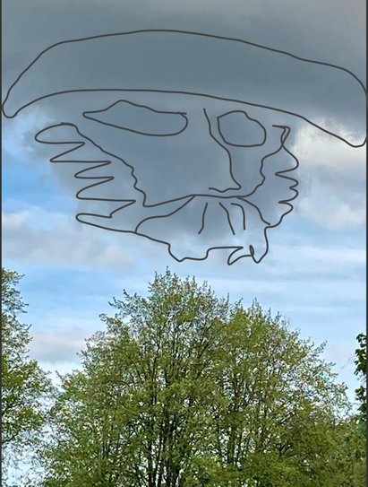 Elina saw a face in the clouds!