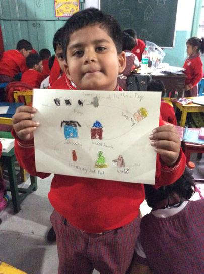 Proud of his story map...and he should be!