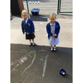 Chalking in the sunshine.