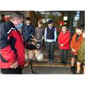 Trevor visits with his reindeer