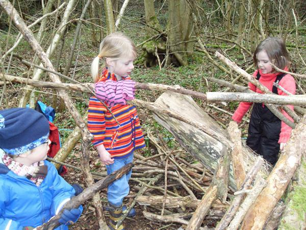 Finding suitable logs and sticks to build a den